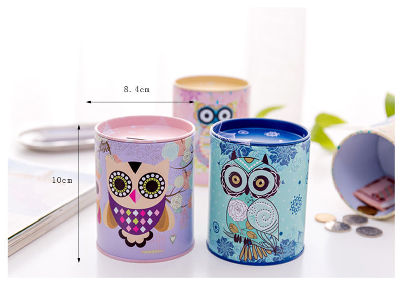 Owl Tin Coin Piggy Bank Money Savings Coin Piggy Bank Cash Box Child Kids Gift Home Decoration Accessories Style Size Chart