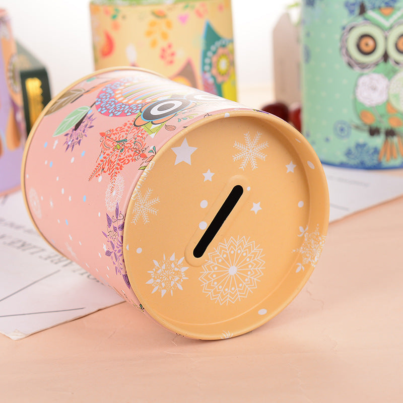 Yellow Owl Tin Coin Piggy Bank Money Savings Coin Piggy Bank Cash Box Child Kids Gift Home Decoration Accessories Style F