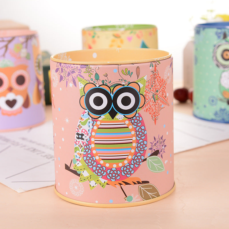Yellow Owl Tin Coin Piggy Bank Money Savings Coin Piggy Bank Cash Box Child Kids Gift Home Decoration Accessories Style E