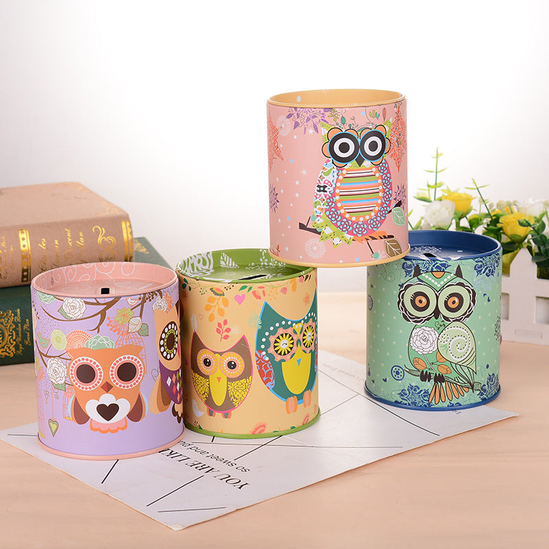 Owl Tin Coin Piggy Bank Money Savings Coin Piggy Bank Cash Box Child Kids Gift Home Decoration Accessories Style B