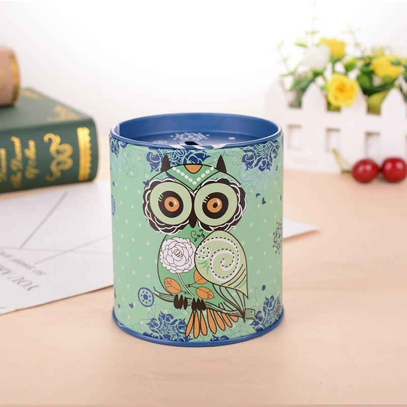 Blue Owl Tin Coin Piggy Bank Money Savings Coin Piggy Bank Cash Box Child Kids Gift Home Decoration Accessories Style N