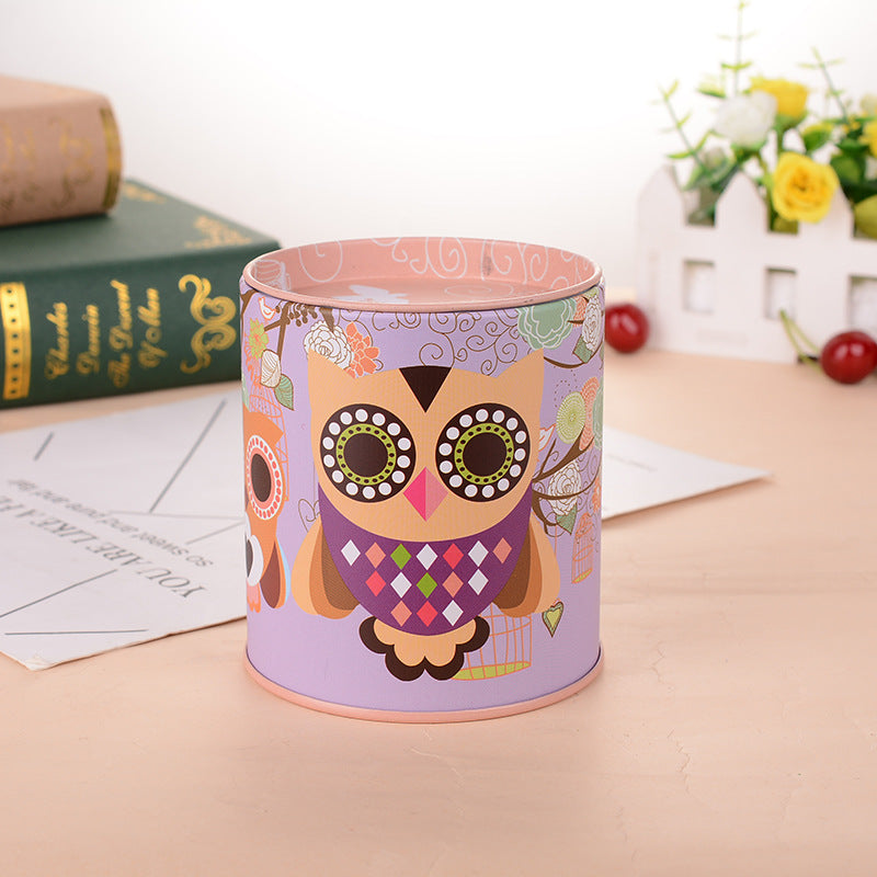 Pink Owl Tin Coin Piggy Bank Money Savings Coin Piggy Bank Cash Box Child Kids Gift Home Decoration Accessories Style L