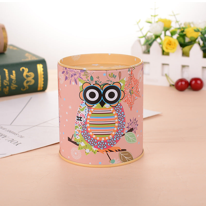 Yellow Owl Tin Coin Piggy Bank Money Savings Coin Piggy Bank Cash Box Child Kids Gift Home Decoration Accessories Style O