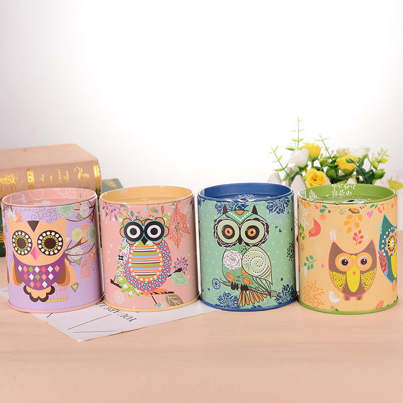Owl Tin Coin Piggy Bank Money Savings Coin Piggy Bank Cash Box Child Kids Gift Home Decoration Accessories Style D