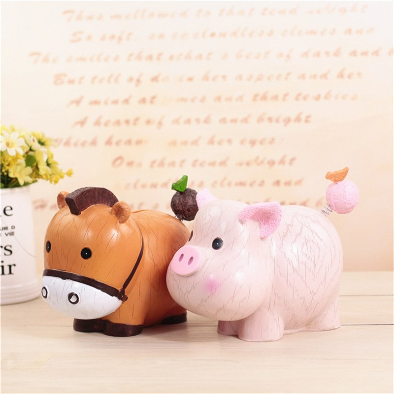 Cow Pig Animal Coin Piggy Bank Money Savings Box Coin Piggy Bank Cash Boxes Child Kids Gift Home Decoration Accessories Style B