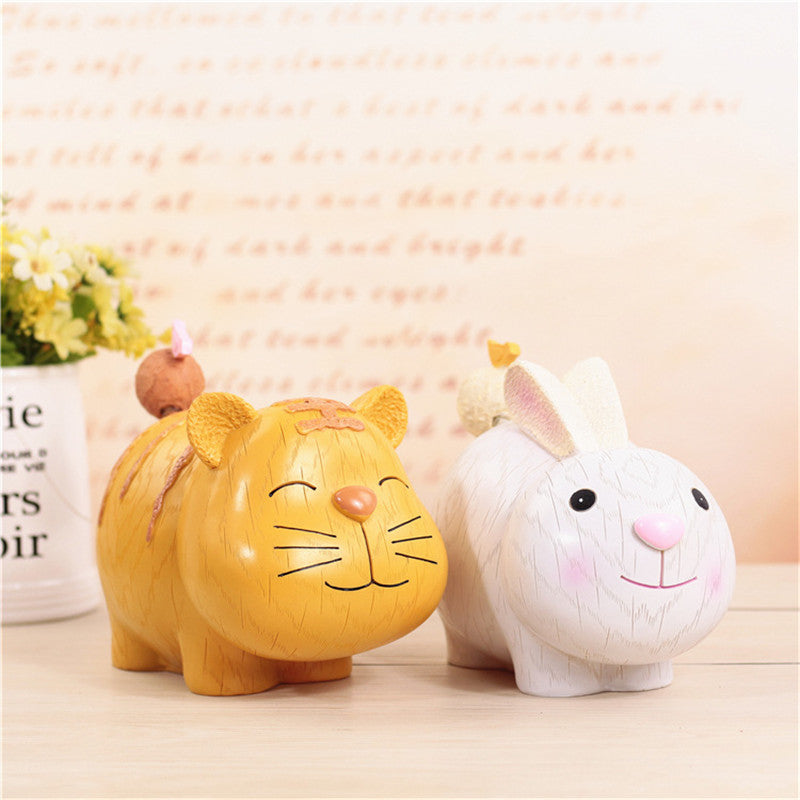 Tiger Rabbit Animal Coin Piggy Bank Money Savings Box Coin Piggy Bank Cash Boxes Child Kids Gift Home Decoration Accessories Style E