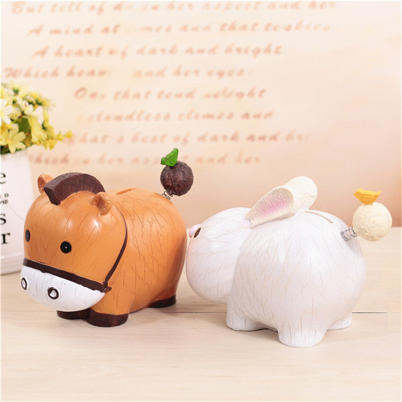 Tiger Rabbit Animal Coin Piggy Bank Money Savings Box Coin Piggy Bank Cash Boxes Child Kids Gift Home Decoration Accessories Style D