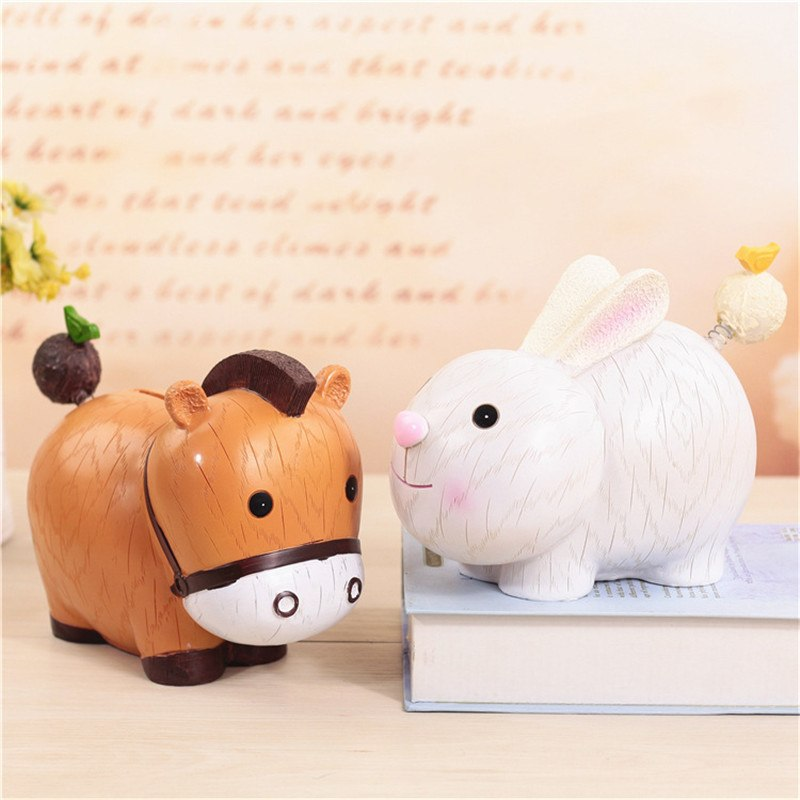 Cow Rabbit Animal Coin Piggy Bank Money Savings Box Coin Piggy Bank Cash Boxes Child Kids Gift Home Decoration Accessories Style C