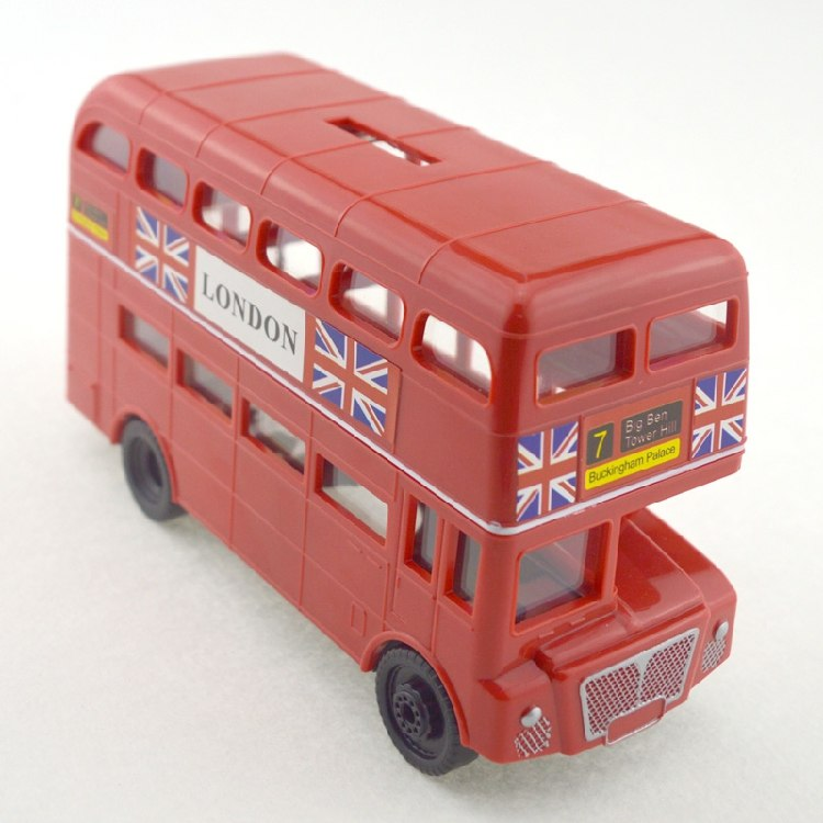 British London Double Decker Bus Coin Piggy Bank Money Savings Box Coin Piggy Bank Cash Boxes Child Kids Gift Home Decoration Accessories Style E