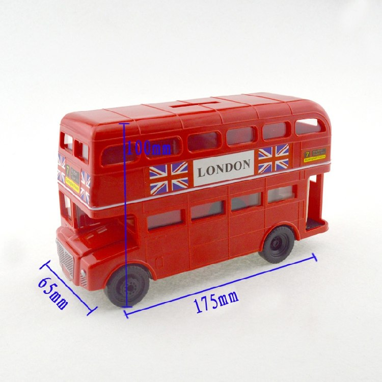 British London Double Decker Bus Coin Piggy Bank Money Savings Box Coin Piggy Bank Cash Boxes Child Kids Gift Home Decoration Accessories Style Size Chart