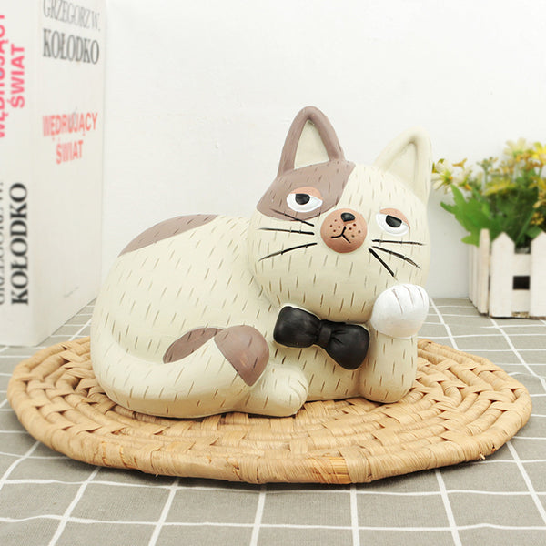 Cute White Cartoon Cat Coin Piggy Bank Money Savings Box Coin Piggy Bank Cash Boxes Child Kids Gift Home Decoration Accessories Style