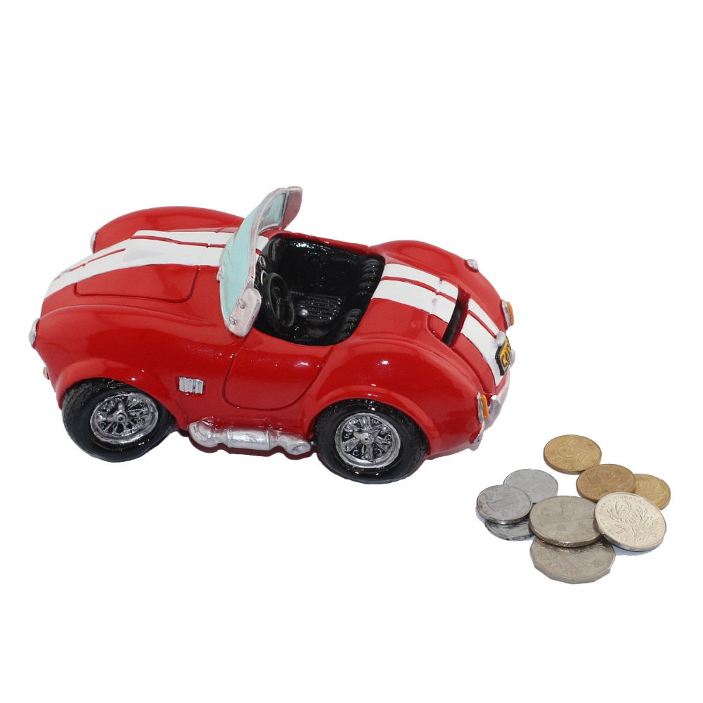 Vintage Red Roadster Sports Car Coin Piggy Bank Money Savings Box Coin Piggy Bank Cash Boxes Child Kids Gift Home Decoration Accessories Style B