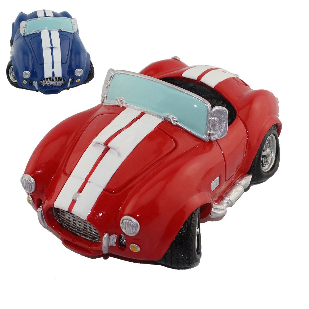 Vintage Red Blue Roadster Sports Car Coin Piggy Bank Money Savings Box Coin Piggy Bank Cash Boxes Child Kids Gift Home Decoration Accessories Style A