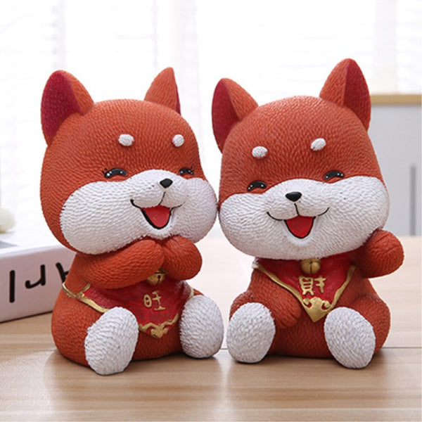 Cute Akita Lucky Dog Coin Piggy Bank Money Savings Box Coin Piggy Bank Cash Boxes Child Kids Gift Home Decoration Accessories Style