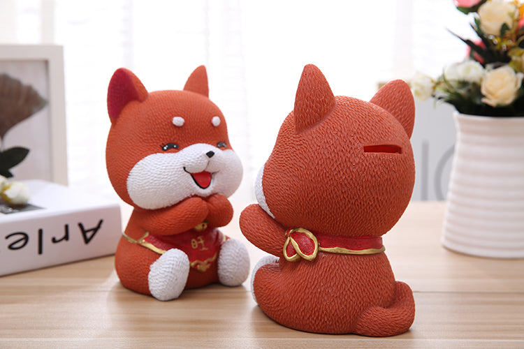 Cute Ginger Akita Lucky Dog Coin Piggy Bank Money Savings Box Coin Piggy Bank Cash Boxes Child Kids Gift Home Decoration Accessories Style F