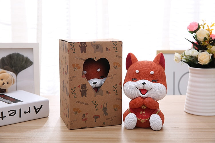 Cute Akita Lucky Dog Coin Piggy Bank Money Savings Box Coin Piggy Bank Cash Boxes Child Kids Gift Home Decoration Accessories Style E