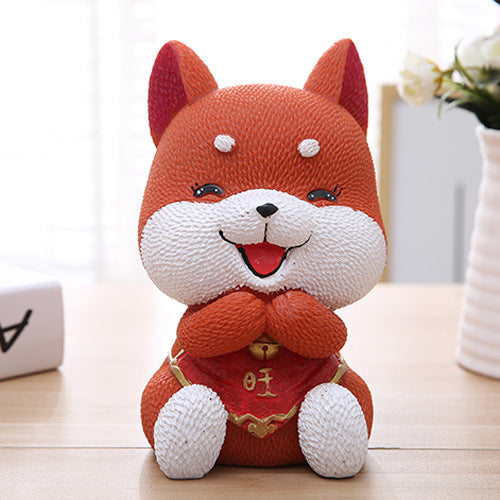 Cute Akita Lucky Dog Coin Piggy Bank Money Savings Box Coin Piggy Bank Cash Boxes Child Kids Gift Home Decoration Accessories Style C