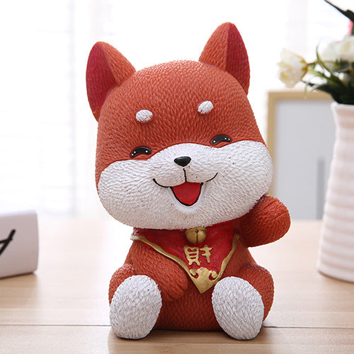 Cute Akita Lucky Dog Coin Piggy Bank Money Savings Box Coin Piggy Bank Cash Boxes Child Kids Gift Home Decoration Accessories Style D