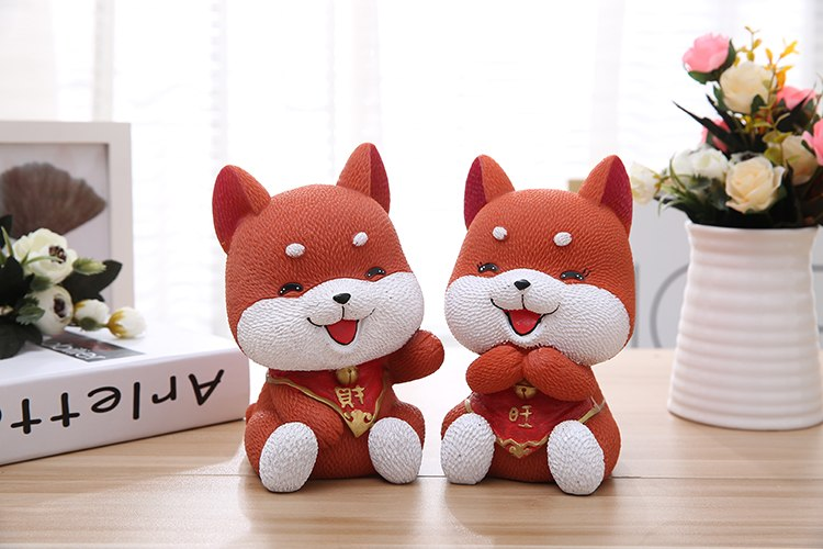 Cute Akita Lucky Dog Coin Piggy Bank Money Savings Box Coin Piggy Bank Cash Boxes Child Kids Gift Home Decoration Accessories Style H