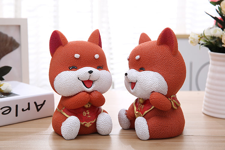 Cute Orange Akita Lucky Dog Coin Piggy Bank Money Savings Box Coin Piggy Bank Cash Boxes Child Kids Gift Home Decoration Accessories Style B