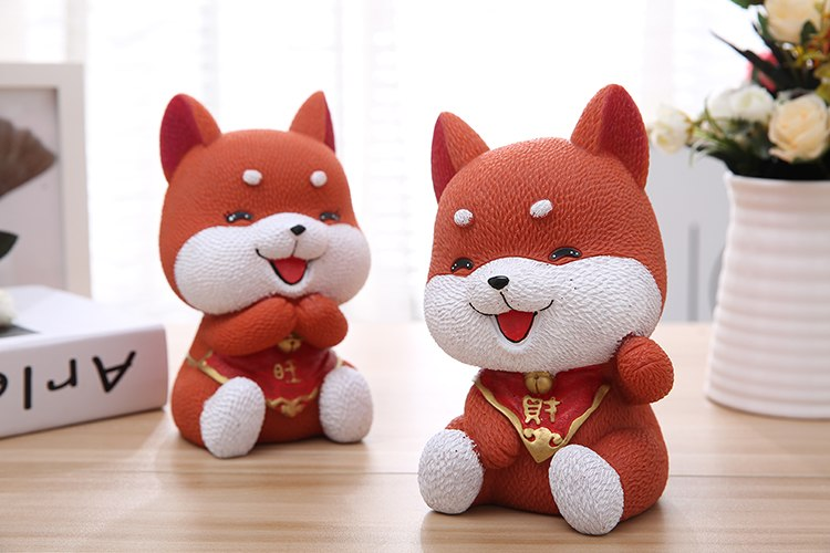 Cute Red Akita Lucky Dog Coin Piggy Bank Money Savings Box Coin Piggy Bank Cash Boxes Child Kids Gift Home Decoration Accessories Style J