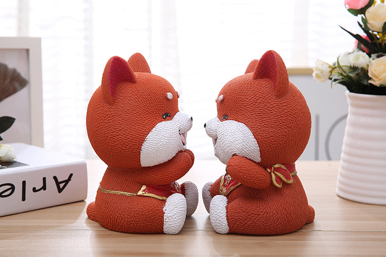 Cute Akita Lucky Dog Coin Piggy Bank Money Savings Box Coin Piggy Bank Cash Boxes Child Kids Gift Home Decoration Accessories Style A
