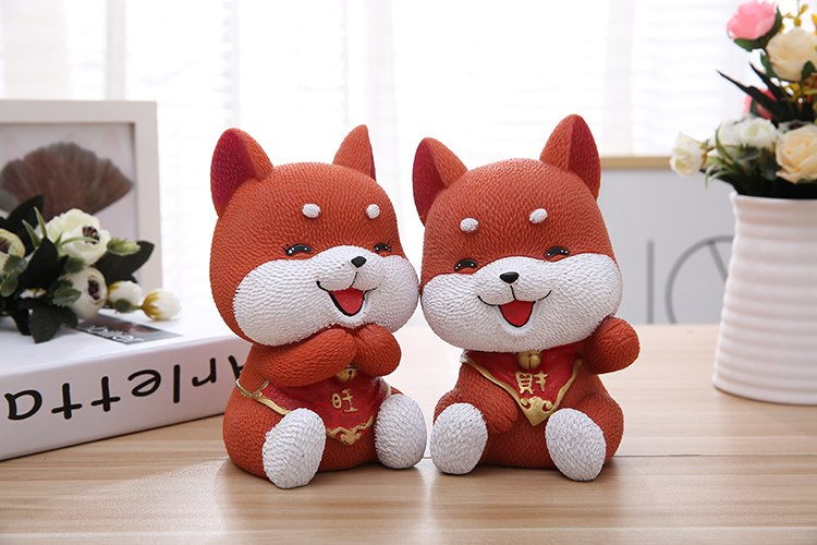 Cute Akita Lucky Dog Coin Piggy Bank Money Savings Box Coin Piggy Bank Cash Boxes Child Kids Gift Home Decoration Accessories Style G
