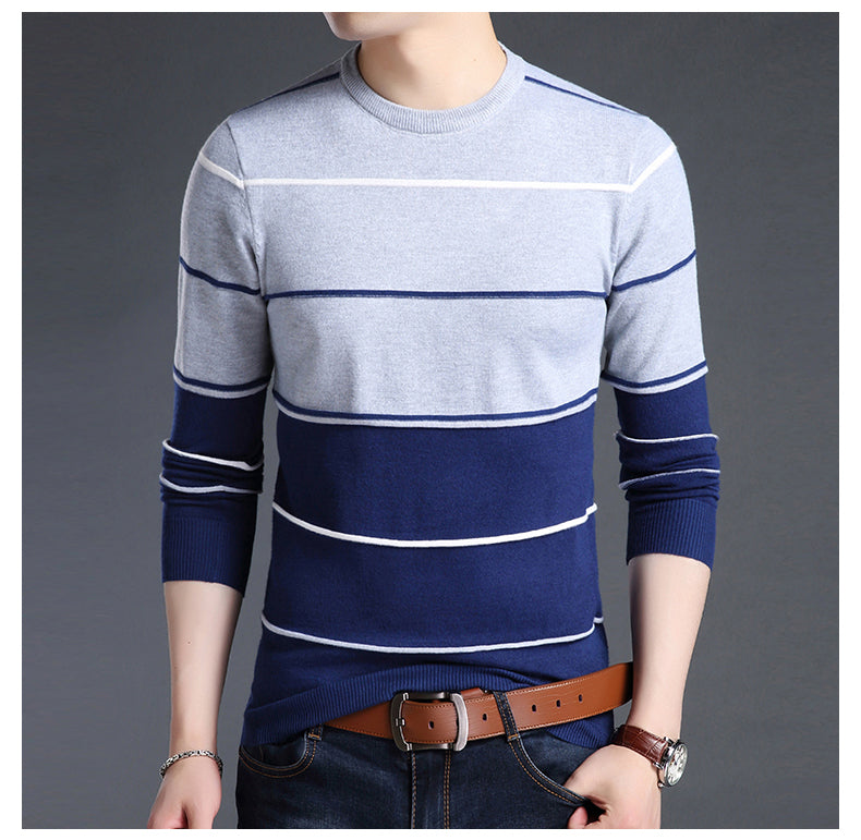Trending Mens Blue Striped Slim Fit Crewneck Woolen Knitted Japanese Casual Sweater Men Stripe Jumper Pullover Clothes Fashion Apparel Style