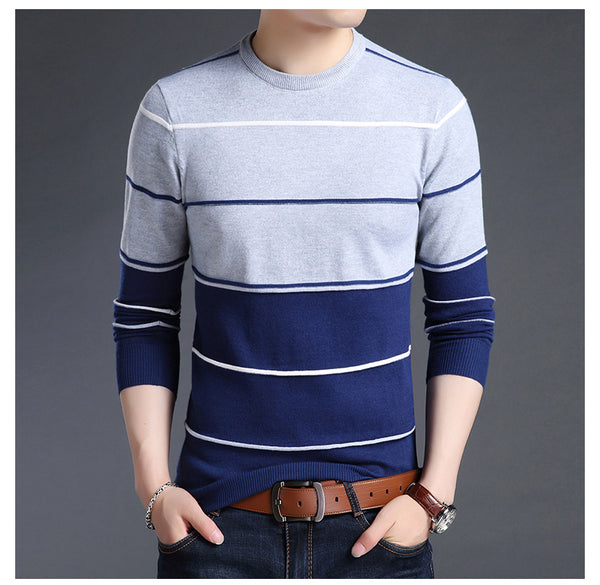 Mens Blue Striped Slim Fit Crewneck Woolen Knitted Japanese Casual Sweater Men Stripe Jumper Pullover Clothes Fashion Apparel Style