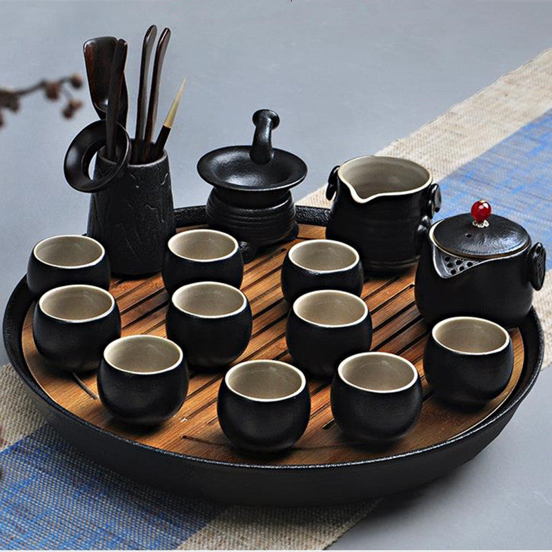 Ceramic Bamboo Tea Tray with Drainage Water storage