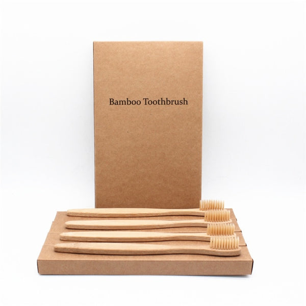 4 Piece Colorful Bristles Head Bamboo Toothbrush Box Set Environmentally Friendly Wooden Rainbow Bamboo Toothbrush Oral Care Soft Bristle Bathroom Toiletry Accessories