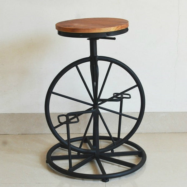 Bicycle Style Wrought Iron Chair Wheel Stool Industrial Wind Lifting Retro Bar Stools Solid Wood Leisure Chairs