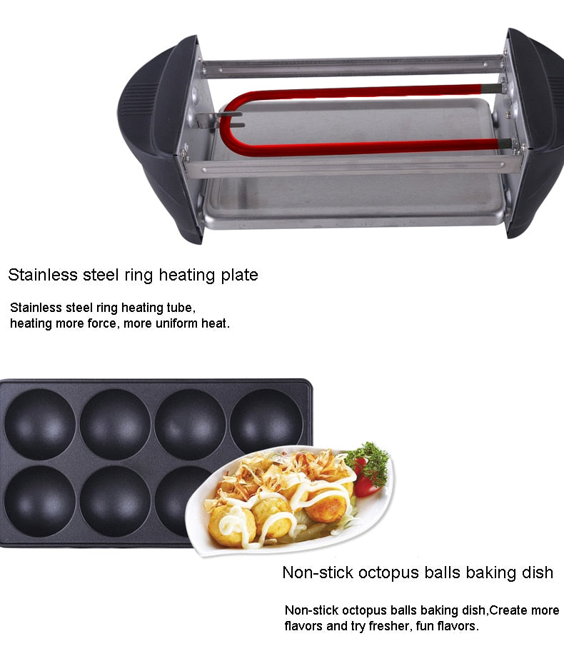 Double Layer Smokeless Japanese Takoyaki Machine Octopus Ball Electric BBQ Grill Pan Home Kitchen Electrical Appliance Japan Style H