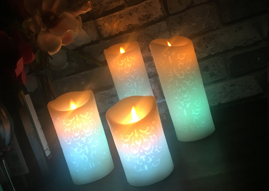 Trend Color Change Gradient LED Candles Remote Control Electronic Flameless Breathing Candle Night Lights Wedding Party Decoration