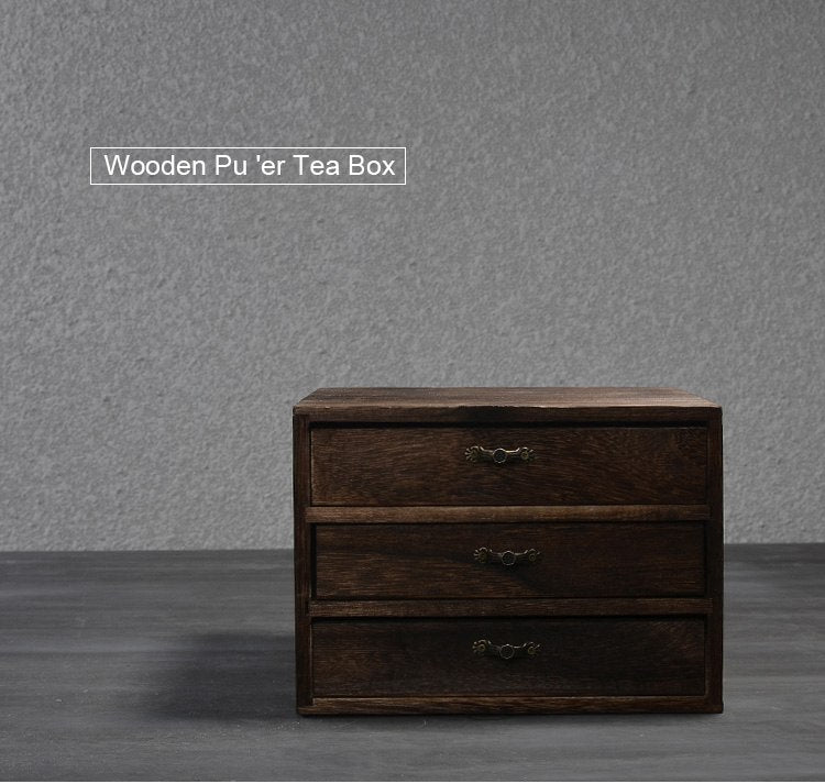 Wooden Puer Tea Drawer Cabinet Retro Tea Box Kung Fu Tea Accessories Wood Drawer Storage Containers Style Japan Chic
