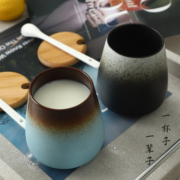 Japanese Retro gradient Frosted Ceramic Mug Japan Coffee Beer Milk Mugs Kitchen Dining Home Decor Accessories