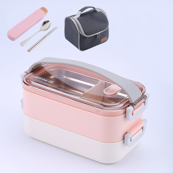 Microwave Leakproof Japanese Pink Bento Lunch Box Plastic Stainless Steel Japan Portable Food Container Compartments Bento Box Picnic Set
