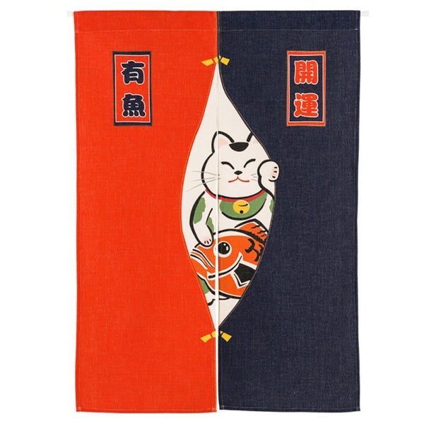 Japanese Red Black Cat and Fish Noren Half Open Door Curtain Tapestry Screens Cotton Linen Hanging Doorway Drape Valance textile Japan Home Decor