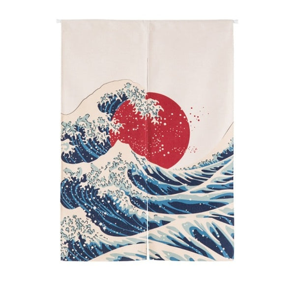 Japanese The Wave Cotton Half Open Noren Doorway Curtain