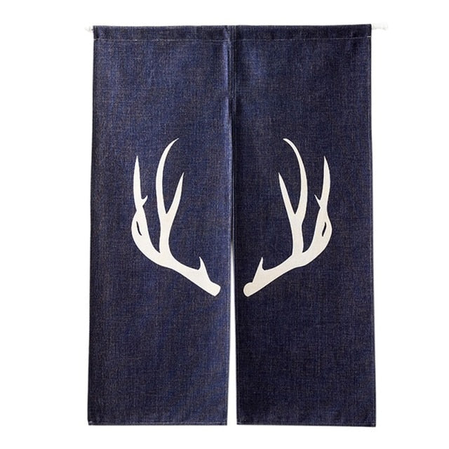 Trend Japanese Deer Antler Cotton Half Open Noren Doorway Curtain Japan Home Decor Accessories Luxurious Style