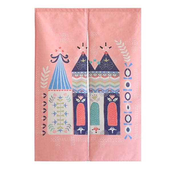 Pink Japanese Noren Half Open Door Curtain Tapestry Screens Cotton Linen Hanging Doorway Drape Valance textile Japan Home Decor