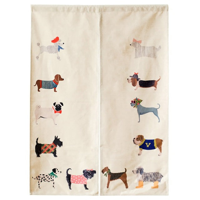 Beige Japanese Noren Dogs Print Half Open Door Curtain Tapestry Screens Cotton Linen Hanging Doorway Drape Valance textile Japan Home Decor