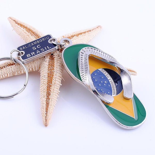 Brazilian Flag Flip Flops Keychain Brazil National Flag Metal Slippers Key Rings Beach Sandals Keychains Style