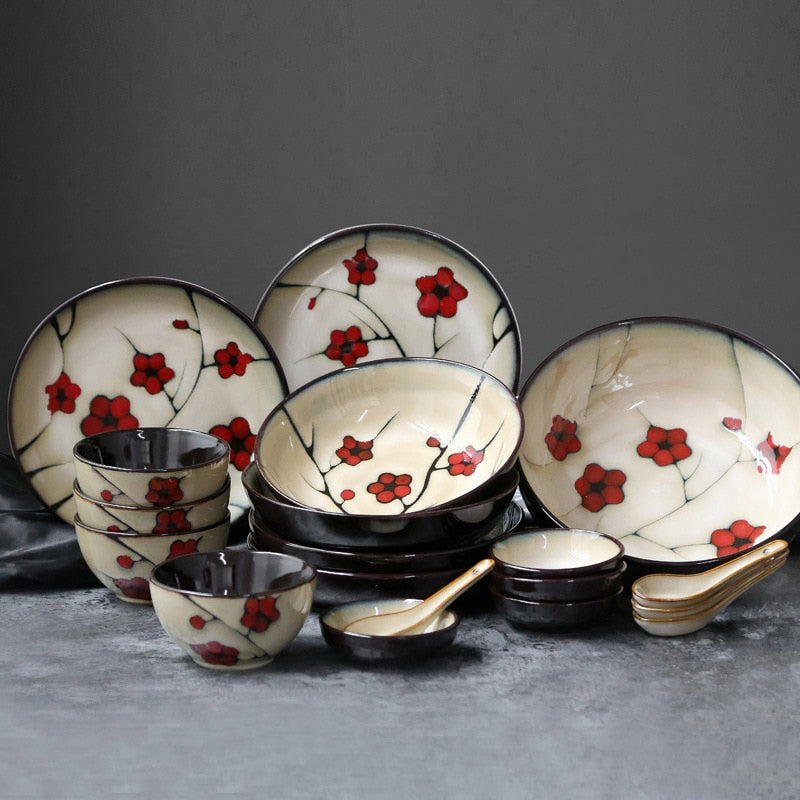 Japanese Red Plum Porcelain Tableware Japan On-Glaze Ceramic Dinnerware Dinner Sets JPN Style