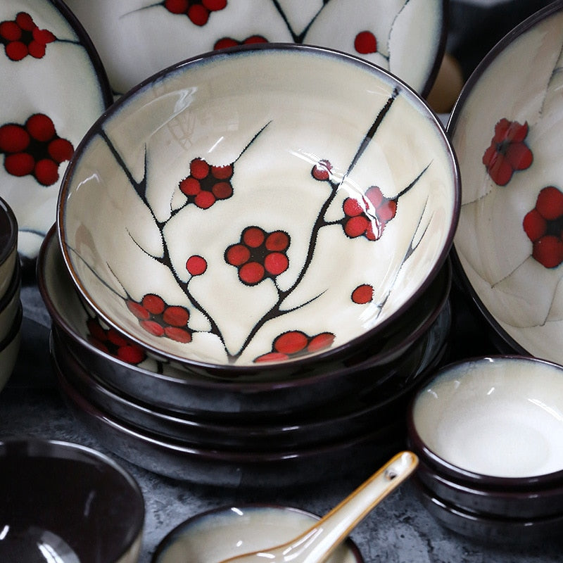 Japanese Red Plum Porcelain Tableware Japan On-Glaze Ceramic Dinnerware Dinner Sets JPN Style F