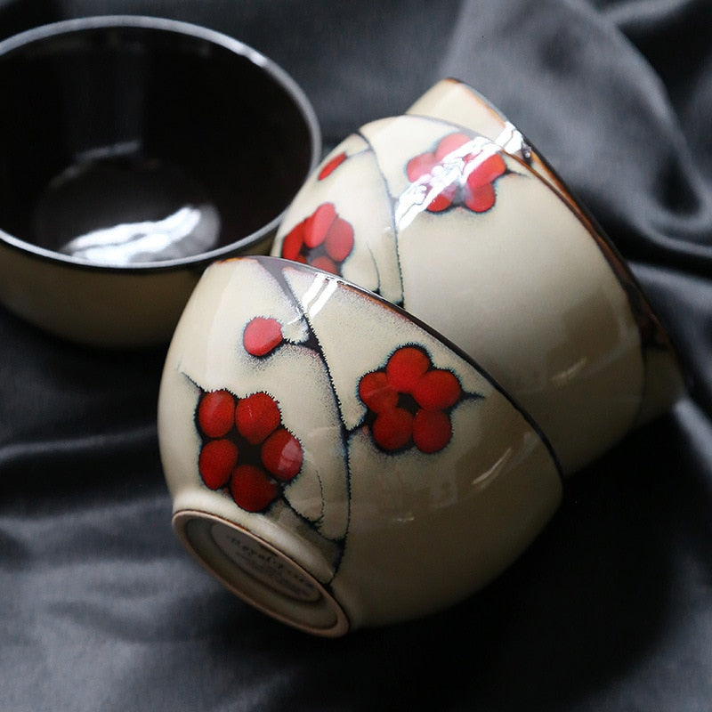 Japanese Red Plum Porcelain Cup Tableware Japan On-Glaze Ceramic Dinnerware Dinner Sets JPN Style E