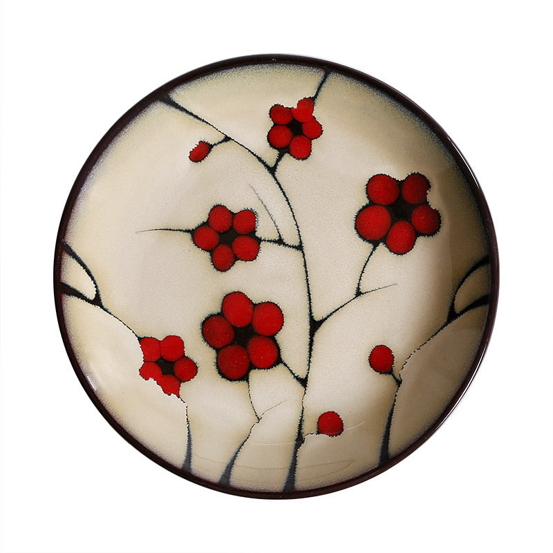 Japanese Red Plum Porcelain Plate Tableware Japan On-Glaze Ceramic Dinnerware Dinner Sets JPN Style A