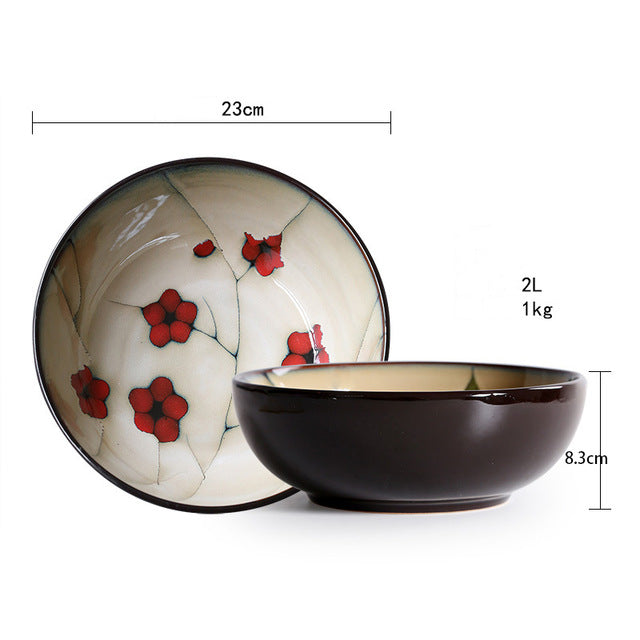 Japanese Red Plum Porcelain Tableware Japan On-Glaze Ceramic Dinnerware Dinner Sets JPN Style R