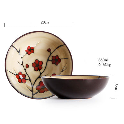 Japanese Red Plum Porcelain Tableware Japan On-Glaze Ceramic Dinnerware Dinner Sets JPN Style W