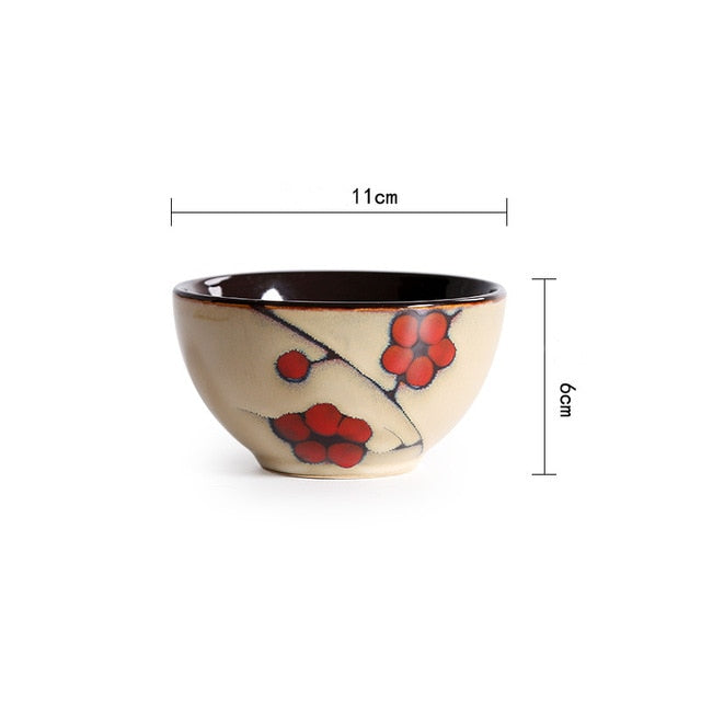 Japanese Red Plum Porcelain Bowl Tableware Japan On-Glaze Ceramic Dinnerware Dinner Sets JPN Style V